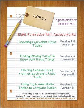6th Grade Math:  6.RP.3a Mini-Assessments