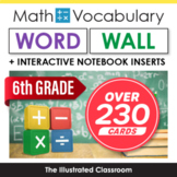 6th Grade Math Vocabulary Printable Word Wall Cards - Comm