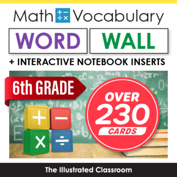 6th Grade Math Vocabulary Printable Word Wall Cards - Common Core Aligned
