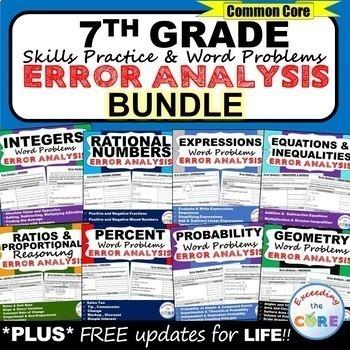 7th Grade Math ERROR ANALYSIS (Find the Error) Common Core