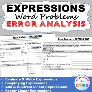 EXPRESSIONS Word Problems -  Error Analysis  (Find the Error)