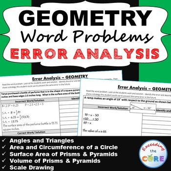 7th Grade GEOMETRY Word Problems -  Error Analysis  (Find