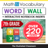 7th Grade Math Vocabulary Printable Word Wall Cards Common