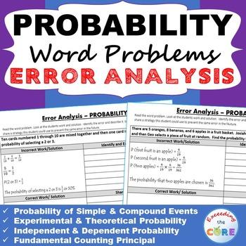 PROBABILITY Word Problems -  Error Analysis  (Find the Err