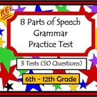 8 Parts of Speech Grammar Pretest and Post Test