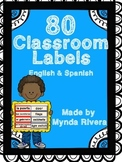 80 Classroom Labels (English & Spanish)