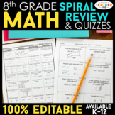 8th Grade Spiral Math Homework {Common Core} - ENTIRE YEAR