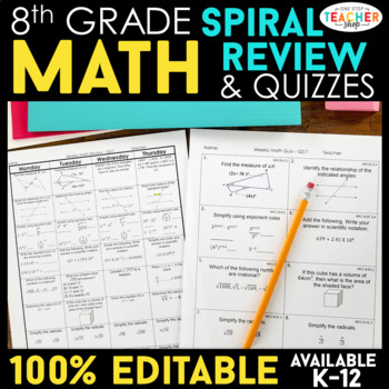 8th Grade Spiral Math Homework {Common Core} - ENTIRE YEAR!!! 100% Editable