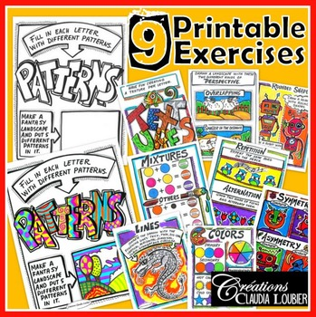 9 printable exercises of language of art. For visual art.