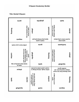 9 square activity- Dental Health