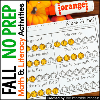 A Dab of Learning {Literacy & Math Bingo Dabber Activity Pages for Fall}
