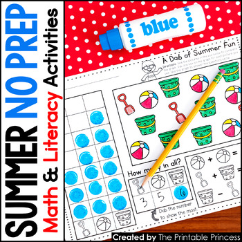 A Dab of Learning {Literacy & Math Bingo Dabber Activity Pages for Summer}