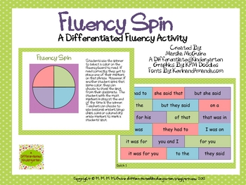 A Differentiated Fluency Phrase Spin Activity Dolch 1-11