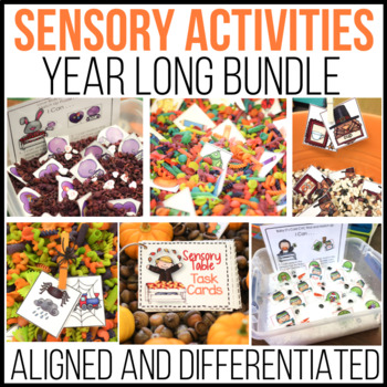 A Year's Worth of  Sensory Table Fun: Aligned Activities and Task Cards