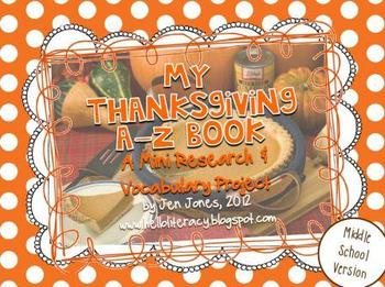A-Z Book: Thanksgiving (Middle School Version)