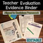 Danielson Teacher Evidence Binder Evaluation {EDITABLE} Or