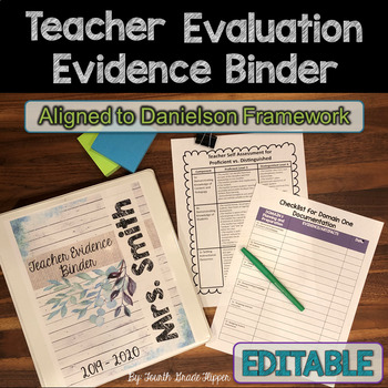 Danielson Teacher Evaluation {Editable} Binder Organizers for APPR Evidence