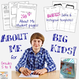 'About Me' Activities for Grades 5 to 7! New Year's goal setting