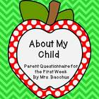 About My Child - Parent Questionnaire for Back-to-School