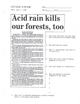 Acid Rain Article short with Questions