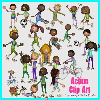 Action Verbs Clip Art for Teachers - Now With Blacklines!