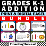 Addition Task Cards BUNDLE Common Core Math Facts Kinderga