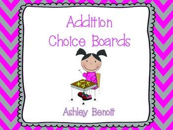 Addition Choice Boards Set 1