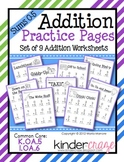 Addition Practice Sums 0-5  Common Core K.OA.5 & 1.OA.6