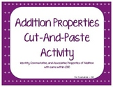 Addition Properties Cut and Paste Activity