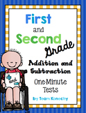 Addition and Subtraction One Minute Math Test - First and