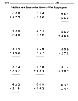 Addition-and-Subtraction-Review-With-Regrouping-Worksheets-206165 ...