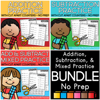 Addition and Subtraction Worksheets with Counters BUNDLE
