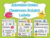 Adorable Ocean Classroom Subject Labels