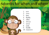 Adverbs for when and where Word Work Packet–10 words, no p
