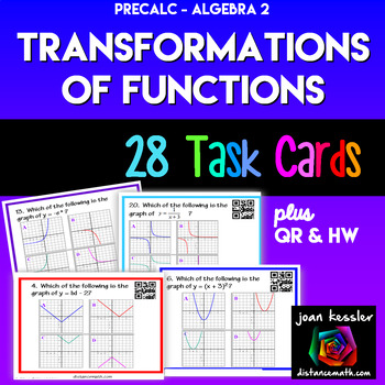 Algebra 2 * PreCalculus * Transformation of Graphs* TASK CARDS * QR * Quiz