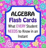 Algebra Flashcards - What every student  NEEDS to know in