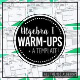 Algebra Warm-Ups Bundle - Covers most all Algebra Topics!