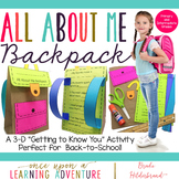 """All About Me Paper """"Bagpack!"""" {A Back to School Craftivity}"""