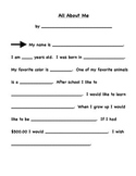 All About Me Paragraph Writing & Stationary