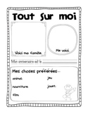 """All About Me poster """"Tout sur moi"""" French first day week activity"""