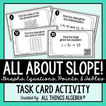 Slope (Graphs, Ordered Pairs, Tables, Equations): Task Cards