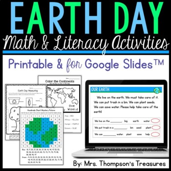 All About the Earth - Print and Go - Math & Literacy - No Prep