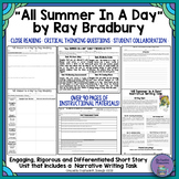 """""""All Summer in a Day"""" by Ray Bradbury-Characterization and"""