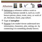 Allusions Powerpoints (Teacher/Student Versions, Chart, Rubric)