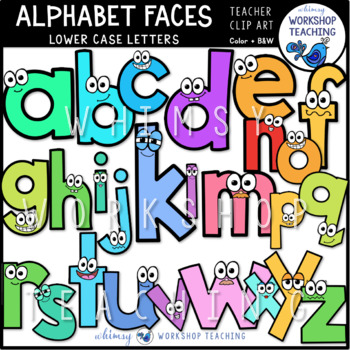 Alphabet Faces Lowercase Clip Art - Whimsy Workshop Teaching