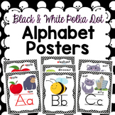 Alphabet Posters - Black and White Polka Dot Border