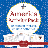 America Literacy and Math Pack - Centers, Activities for A