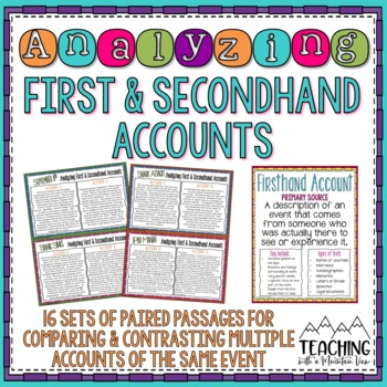 Analyzing Firsthand and Secondhand Accounts of the Same Event Task Cards