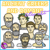Ancient Greeks and Romans Clip Art - color and black line