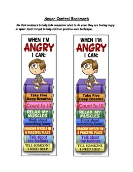 Anger Control Bookmarks